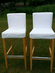 NEW PRICE - BAR STOOLS WITH BACK REST - $100/PAIR