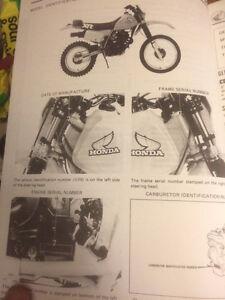 1983 Honda XR350R Shop Manual Regina Regina Area image 3