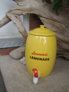 REDUCED~Vintage Yellow Lemonade Pottery Crock Ceramic Dispenser