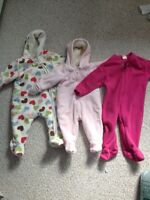 Baby girl snow suit and sleeper