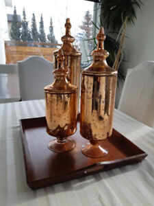 3 pieces golden glass vases