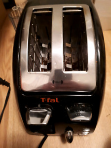 T-Fal brand stainless steel and black 2 slice toaster-$10