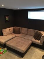 Microsuede and Leather Sectional