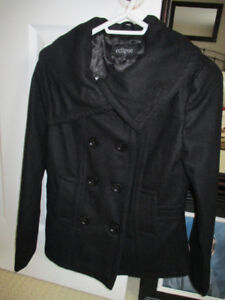 new ladies black wool pea coat size xs, silk lining, fitted styl