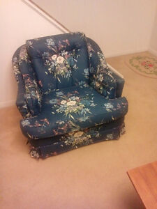 Blue Floral Loveseat and Chair London Ontario image 2