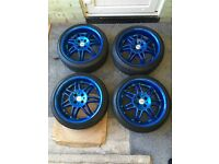 "Rare retro momo racer 17"" alloy wheels and falken tyres 4x100 vw seat skoda Honda bmw e30 Renault"