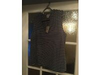 ASOS size 10 navy and white top