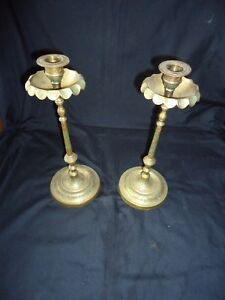 a pair of indian large colourful brass candle holder