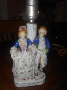 Vintage China Lamp Depicting a Victorian era Couple