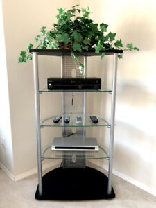 Like new black and silver entertainment unit