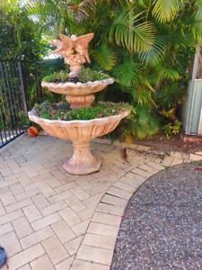 3 tiered concrete fountain