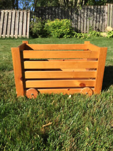 Rolling Wooden Toy Chest