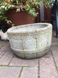 Large barrel style solid stone garden planter