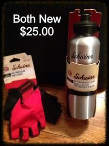 Schwinn gloves & alloy water bottle