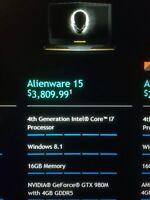 Alienware 15 (GTX 980m) (400GB SSD) (i7) (16GB RAM) (1000GB)