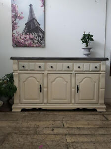 White Buffet with Grey Top - STORAGE!