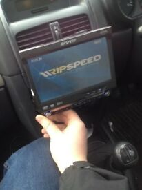 Ripspeed double din touchscreen flip up stereo