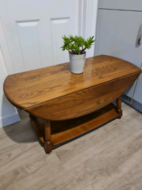 🌿 ERCOL SOLID ELM TRINITY 1705 2 TIER OVAL DROP LEAF COFFEE TABLE 🌿