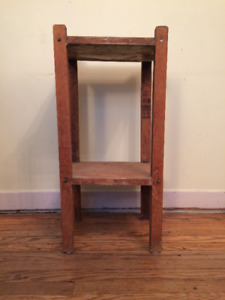 Vintage Small Solid Oak Side Table with Lower Shelf