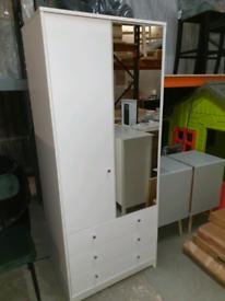 A new white finish 2 door 1 mirrored 3 drawer wardrobe