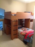 Bunk bed with desk, bookshelf & drawers