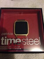 PEBBLE TIME STEEL  SMART WATCH (GOLD EDITION)