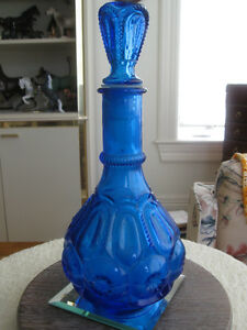 OLD VINTAGE COBALT BLUE HEAVILY EMBOSSED ART GLASS DECANTER