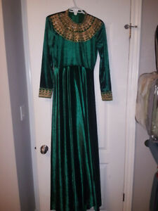 Green with gold velvet prom dress / evening gown with trail