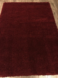 Burgundy - Shag Carpet / Rug - Made in Belgium - 50mm Pile -