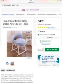 Clair de lune blue and white Moses basket