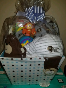 Baby Boy Monkey Themed Gift Basket