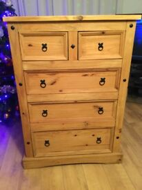 Large strong Mexican pine chest of drawers