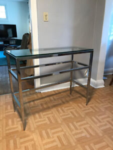 Modern glass and chrome occasional table / console table