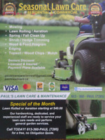 PAUL'S LAWN CARE  MAINTENANCE - BOOK APRIL LAWN  ROLLING TODAY !