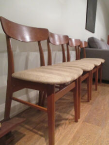 4 MCM Teak and Beechwood Dining Chairs