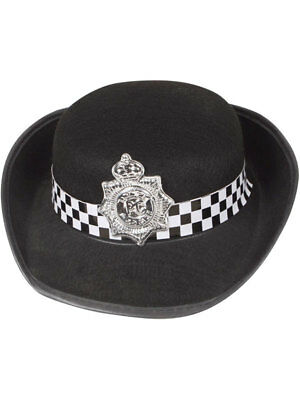 WPC Black Hat Policewoman Police New York Cop Copper Fancy Dress Cap The Bill ()