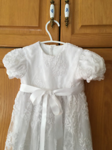 Christening Gown, white French Chantilly Lace and Satin