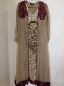 Pakistani/indian party dress - embroidered shirt with long gown