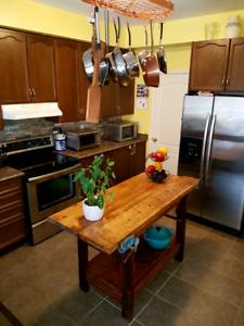 """Antique carpenters bench kitchen island. 34""""h x 25""""w x 60""""w"""
