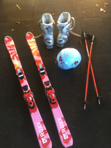 Girl's Skis, Boots, Poles and Helmet