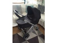 Oyster pram, pushchair, car seat, changing bag, rain covers, isofix, blue, black.