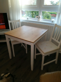 Wooden IKEA table and 2 chairs