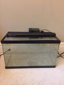 20 Gal. Fish Tank, lid, heater, filter, and LED light