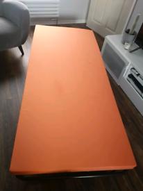 Folding single camp bed and mattress