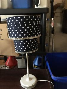 Navy Blue and White, polka dot lamp.