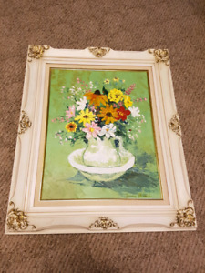 Antique Oil painting signed by gino cieri beautiful  wood frame