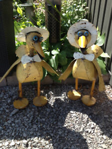 2 metal garden ducks. They're so ugly they're cute!!!!