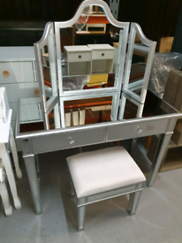 A new large mirrored dressing table x mirror x stool.