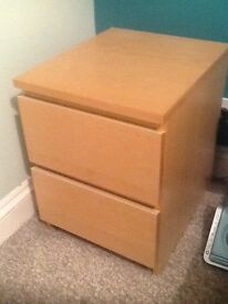 IKEA Malm Two Drawer Bedside Table