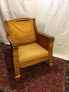 Antique Oak Library Rocking Chair